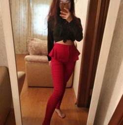 S-M красные женские брюки штаны