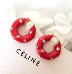 Серьги Celine красные