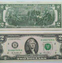 2 доллара, 1 доллар, 5 долларов, 10 долларов
