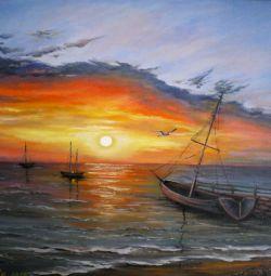 """Vânzare pictură în ulei """"Apus de soare cu pescăruș"""""""