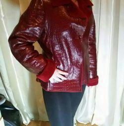 Jachetă din piele cu blană