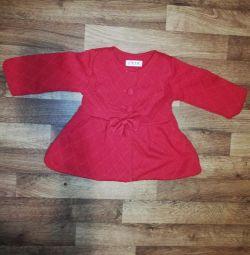 Пальто красное, осеннее