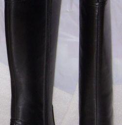 37 cizme din piele de piele de toamnă, negru Cavaletto