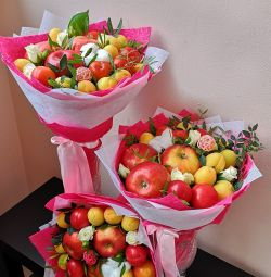 Bouquets of dried fruits, sweets, various sweets