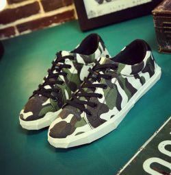Ανδρικά παπούτσια χακί