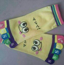 Носки взрослые 10 пальцев желтые