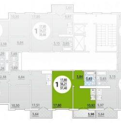 Daire, 1 oda, 37,4 m²
