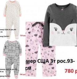 Fata de 2-3 ani pijamale pantaloni de salopetă Carter