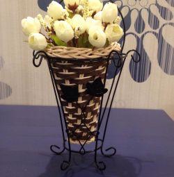 Cache-pot, flori artificiale, decor, interior.
