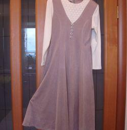 Rochie de cafea lungă cu cremă, dimensiunea 46