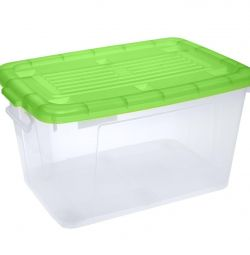 Container with lid on wheels.