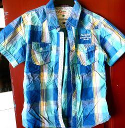Рубашка с коротким рукавом в синюю клетку
