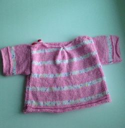 knitted blouse for a girl, from a year old