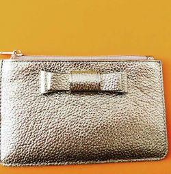 Χρυσό πορτοφόλι από γνήσιο δέρμα