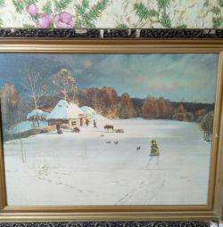 picture. winter evening. Oak canvas 78g