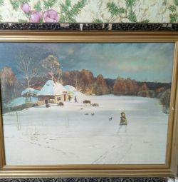 imagine seara de iarnă. Pânză de stejar 78g