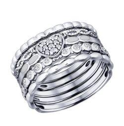 Кольца серебрянные Sokolov