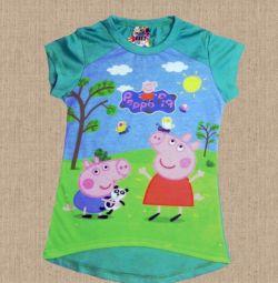 Tricouri de porc Peppa. Nou. 98-116