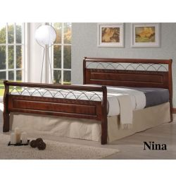 Bed Nina Metal Wood 150x200