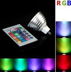 Multi-color lamp RGB 3W MR16 with remote control