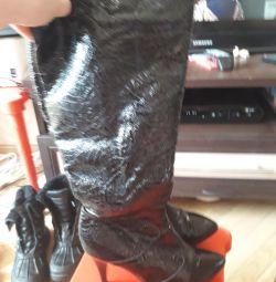 Boots leather - varnish, sheepskin