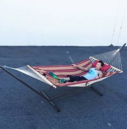 New in box 12' Feet Hammock Stand w/ Quilted Doub