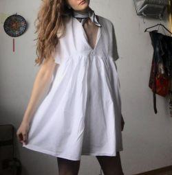 λευκό φόρεμα zara βαμβάκι Γαλλία σάλι σιφόν