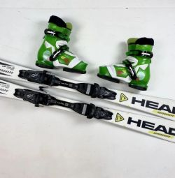Kids Alpine Skiing 120 Head + Boots 21.5