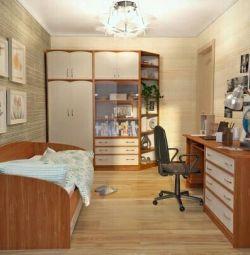 Atlantis bed, wardrobe, rack, dresser, table, shelves