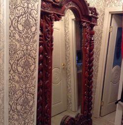 Oglinda 125 la 220, cadru din lemn natural