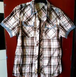 Рубашка с коротким рукавом в коричневую клетку