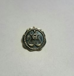 Κρεμαστό από ασήμι 925 ♎ Κλίμακα με μαύρο