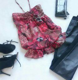 Шифонова блуза-бандо 42-44