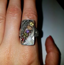 925 silver ring with different natural stones