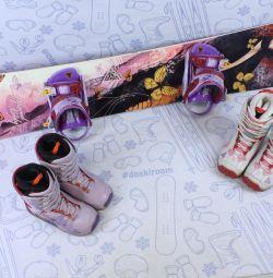 153 cm BlackFire snowboard + bindings + boots
