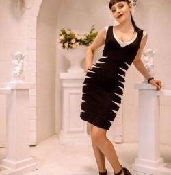 Платье трикотажное бандажное черно- белое