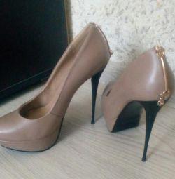 Туфли бежевые каблук 12 см