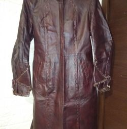 I will sell XL raincoat, genuine leather, color claret