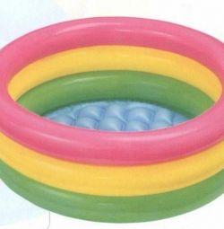 Children's pool Rainbow, 3 rings, 147x33 cm, 57422