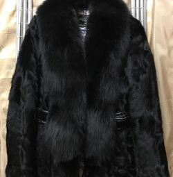 Goat fur coat, polar fox collar
