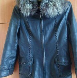 Jachetă din piele cu blană naturală