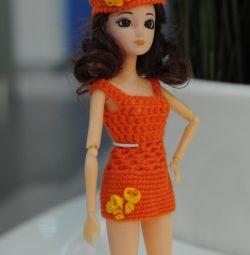 Dress + hat for dolls height 25-30 cm
