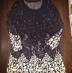 Теплое платье р 46