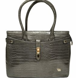 Women bag made of patent leather Eco-silver