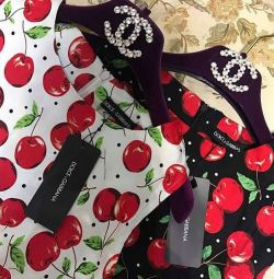 New bright dress with cherry