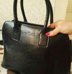 Δερμάτινη μαύρη τσάντα τσάντα νέα