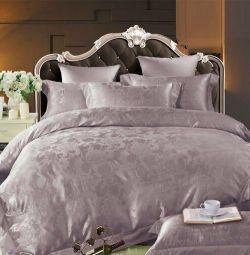 Bed linen made of satin jacquard