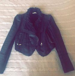 Куртка дублeнка укорочeнная искуственный мех