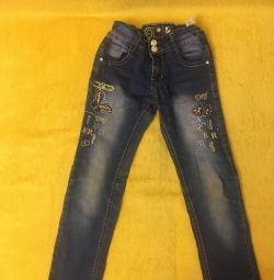 Jeans for a girl of 6-8 years