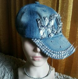 New, denim caps with rhinestones, brand.